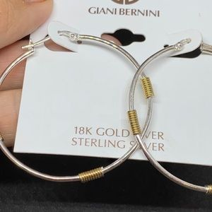 Stirling Silver Hoops with 18k Gold Coils